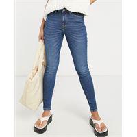 Selected femme - sophia - jeans skinny a vita medio alta, colore blu scuro in misto cotone organico