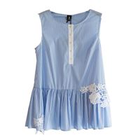 1ONE COLLECTION top in cotone e pizzo