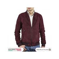 Leather Trend Italy bomber uomo in pelle camoscio hand made