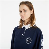 Tommy Jeans crop tape rugby polo shirt navy
