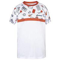 Babolat compete crew neck tee boy maglietta, unisex bambini, bianco/pumpkin, 6-8 anni