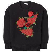 Dolce & Gabbana bambino - flower applique wool knit maglione nera - bambina - 10 anni - nero