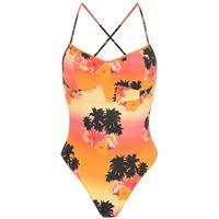 Amir Slama costume intero ilha de hibiscus con stampa - arancione