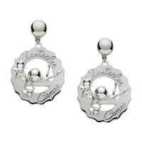 Chantecler / logo / orecchini grandi madame clochette con gatto / argento e diamante