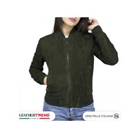 Leather Trend Italy bomber donna in pelle camoscio fatto a mano