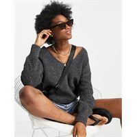 Abercrombie & Fitch - maglione extra largo in grigio scuro con scollo a v