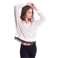 TWIN-SET maglia twinset stampata con pizzo