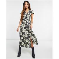 Whistles - starburst - vestito midi a portafoglio con stampa a fiori-nero