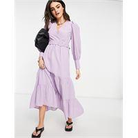 Y.A.S - vestito grembiule lungo lilla con cintura e gonna a balze-viola