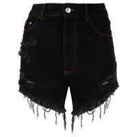 Gcds shorts denim con effetto vissuto - nero