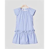 Elsy abito corto in cotone a righine azzurre con gonna arricciata 3 anni
