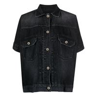 Sacai giacca denim a maniche corte - nero