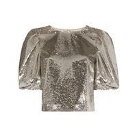Carolina Herrera top con maniche a palloncino - 904 silver