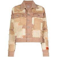 Heron Preston giacca denim con design patchwork - toni neutri