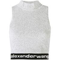 alexander wang top con logo crop donna