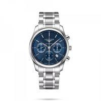 Longines orologio cronografo Longines the master collection con quadrante blu e cinturino in acciaio