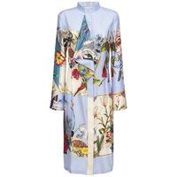 SALVATORE FERRAGAMO vestito midi in seta patchwork