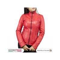 Leather Trend Italy biker donna in vera pelle vintage tamponata a mano