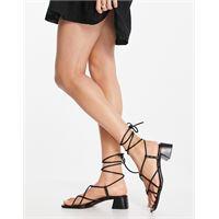 ASOS DESIGN - holden - sandali con tacco neri in pelle premium-nero