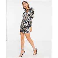 Lavish Alice - vestito corto con inserto a rete e maniche a sbuffo con stampa floreale stile antico-multicolore