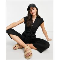 Whistles - sana - tuta jumpsuit in lino nera con bottoni-nero