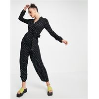 Whistles - tuta jumpsuit nera con stampa di stelle-nero