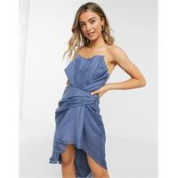 ASOS DESIGN - vestito midi a fascia in organza con risvolto-blu