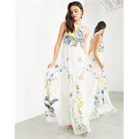 ASOS EDITION - vestito lungo accollato con ricami con fiori selvatici-multicolore