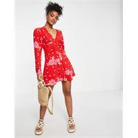Free People - date night - vestito corto con stampa a pois e fiori colore rosso