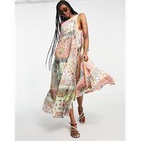 Free People - rama - vestito lungo con gonna a ruota a pannelli patchwork con motivo bandana-multicolore