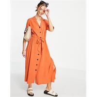 Selected - cally - vestito midi arancione con bottoni