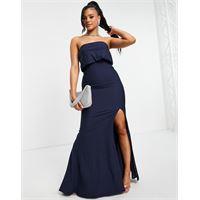 Jarlo - vestito lungo con sovrapposizione a fascia e spacco sulla coscia blu navy