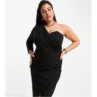 Lavish Alice Plus - vestito midi monospalla drappeggiato con dettaglio a corsetto e spacco sul davanti, colore nero