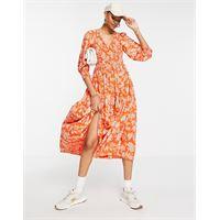 Y.A.S - vestito grembiule midi arancione vivace con stampa a fiori