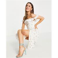 Forever New - vestito da giorno con scollo bardot avorio a fiori con cintura e spacco-bianco
