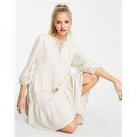 Selected femme - vestito corto beige-bianco