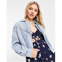Abercrombie & Fitch - giacca di jeans lavaggio blu medio con maniche a sbuffo