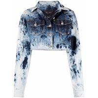 Philipp Plein giacca denim con effetto schiarito - blu