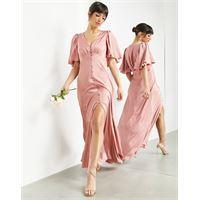 ASOS EDITION asos design - vestito lungo con maniche con volant in raso e bottoni sul davanti, colore rosa scuro