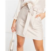 Forever New - minigonna pratica con cintura da annodare e tasche color pietra-neutro