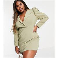 Lavish Alice Plus - vestito blazer avvolgente asimmetrico pistacchio con maniche a sbuffo-verde