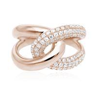 Mabina anello argento - abbraccio rosato pavé