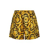 Versace shorts in seta con stampa barocco