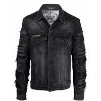 Philipp Plein giacca denim barocco con stampa - nero