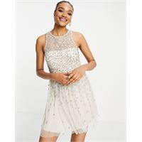 French Connection - elin - vestito corto decorato con paillettes colore crema-bianco