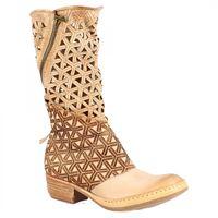A.S.98 stivali mezzo polpaccio con tacco basso da donna fatti a mano in pelle di vitello traforata beige motivo geometrico 925308 grano