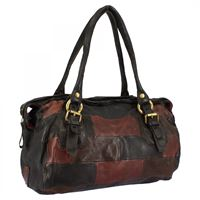 A.S.98 borsa fashion da donna fatta a mano in pelle di vitello nera testa di moro bordeaux chiusura con cerniera 07 nero/bordo