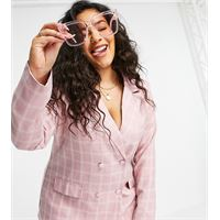 In The Style Plus in the style x billie faiers - vestito blazer rosa a quadri