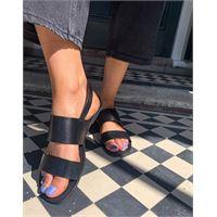 Vagabond - tia - sandali bassi con doppia fascetta in pelle nera-nero