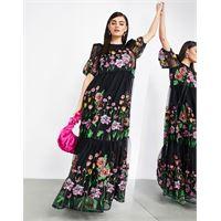 Asos edition - vestito lungo a trapezio nero con ricami e maniche a sbuffo-multicolore